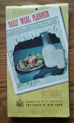 1941 Vintage Daily Meal Planner ~ New York State Bureau Of Milk Publicitiy Dairy