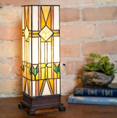 Stained Glass Tiffany Style Table Lamp Mission Style Desk Light Craftsman Accent