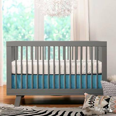 BABYLETTO Hudson 3-in-1 Convertible Crib with Toddler Bed Conversion Kit Grey