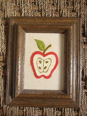 """Embroidery Artwork in Rustic Wooden Frame, Apple, 8.5"""" x 10.25"""", Richill Gallery"""