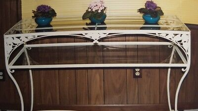 Vintage Hand Forged Antique Wrought Iron Matching Sideboard Very Rare Hibiscus