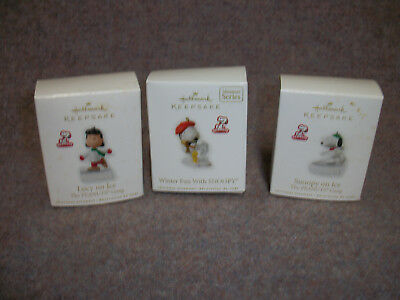 Lot Of 3 Peanuts Hallmark Keepsake Miniature Ornaments Lucy Snoopy on Ice Winter