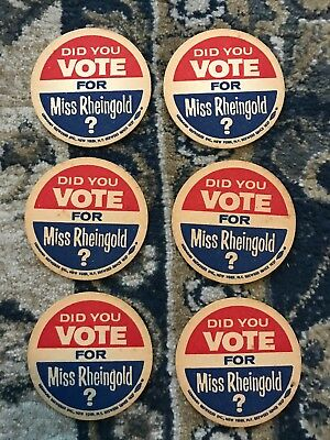 6 Vintage 1957 Did You Vote For Miss Rheingold? Beer Coasters Mid Century MCM