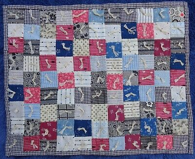 Small Vintage Doll Quilt Postage Stamp Tied Calico Doll Bed