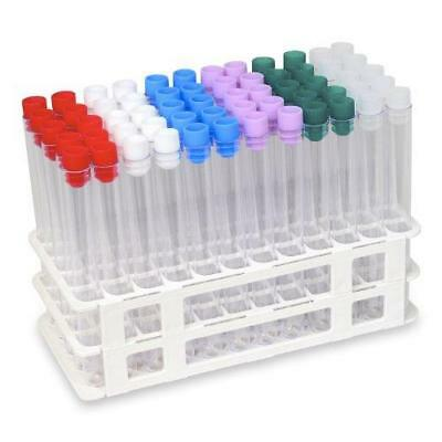 60 Tube - 16x150mm Clear Plastic Test Tube Set with Caps and Rack - Karter