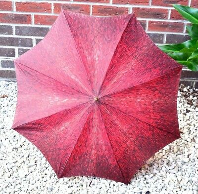1940s Vintage Deep Red Umbrella Cane Handled Bamboo Handled Parasol Ladies