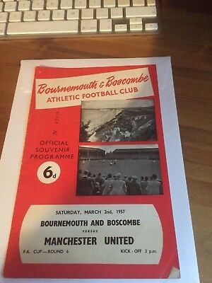 Bournemouth v Manchester United Busby Babes (FAC) football programme 56/7