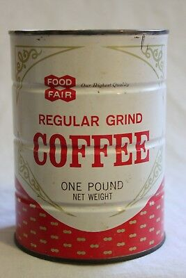 Vintage Food Fair Coffee Can Tin  1 Lb Full Unopened