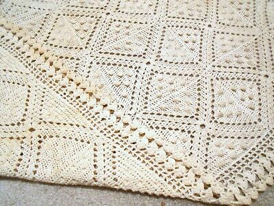 Antique 19thC Crochet COVERLET ~ Fabulous Southern Tobacco String Lace Blanket
