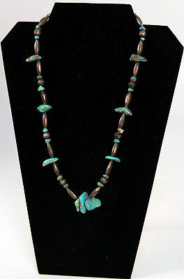 """Navajo Sterling Silver Beaded Necklace with Turquoise Nuggets 22"""" Long"""