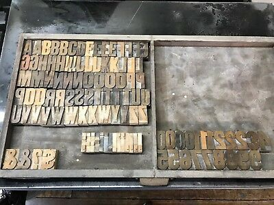 """109- 2"""" Tall Vintage Wooden Letterpress Printing Letters Numbers"""