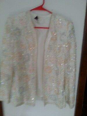 Laurence Kazar vtg jacket XL off white with sequin & bead embellishments