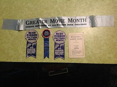 Extremely Rare 1930's Warner Bros. Theaters Blue Ribbon-Greater Movie Months
