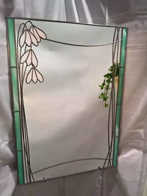 61x46cm Snowdrop  Stained Glass effect mirror Hande made in the UK