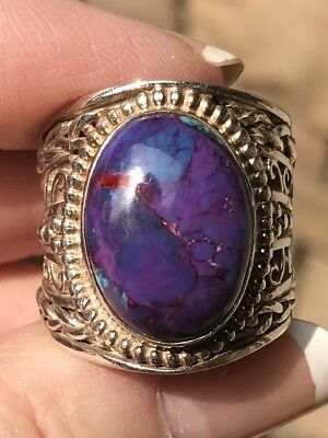 Vintage Artisan Handcrafted Sterling Silver Ring HUGE Heavy Purple Turquoise