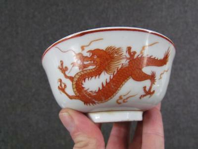 2 ANTIQUE 19c. CHINESE PORCELAIN RICE BOWLS, WHITE & RED DRAGON DESIGN