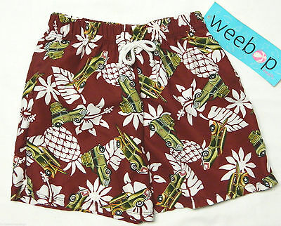 Weebop Little Boy's SIZE 2-4 Burgundy Car Floral Swimsuit Trunks w/Liner NWT