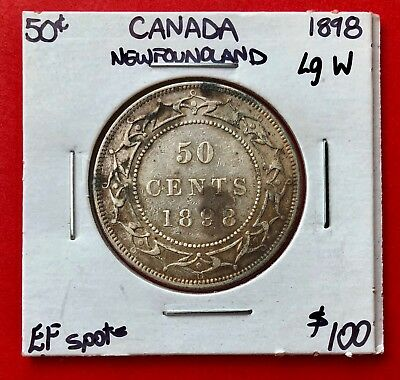 1898 Large W Newfoundland 50 Cent Coin Fifty Half Dollar MS20 - $100 EF Spots