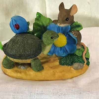 """Fitz & Floyd CHARMING TAILS """"Take Time to Smell the Flowers"""" FIGURINE"""