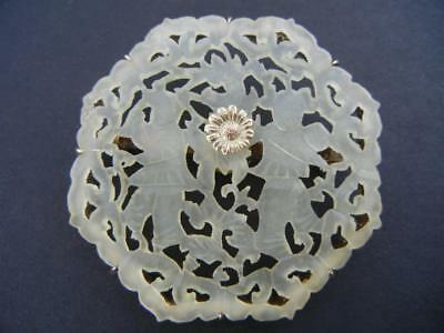 Vintage Antique Chinese Pin Carved White Jade Disc Gilt Silver Figures