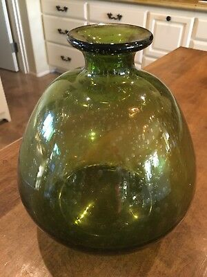 Vintage Hand Blown Glass Large Art Bubble Glass Round Green Excellent Condition