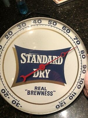 Rare Vntg Pam Clock Co  Advertising Thermometer Standard Dry Beer Real Brewness