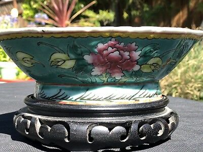 Antique Chinese Qing Dynasty Famille Rose Porcelain Footed Bowl