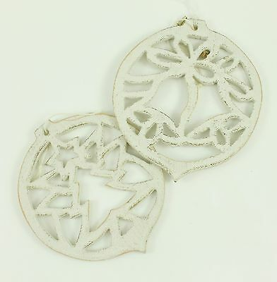 Vintage White Wooden Cutout Christmas Ornament Holiday Tree Decoration Lot