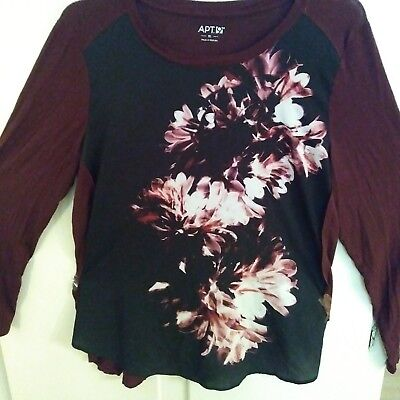 Apt 9 Womans Burgandy Top Size XL. Flowered Jersey Knit top.12th.Gently Used