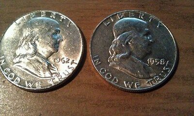 2 Ben Franklin Half Dollars 90% Silver Coins $1.00 Face Value