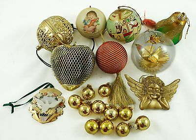 Vintage Gold Ball Metal Bell Heart Angel Holiday Christmas Tree Ornament Lot