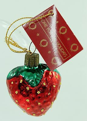 Vintage Red Green Glass Strawberry Christmas Ornament Holiday Tree Decoration