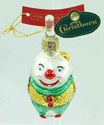 Vintage Christborn Green Glass Clown Christmas Ornament Holiday Tree Decoration