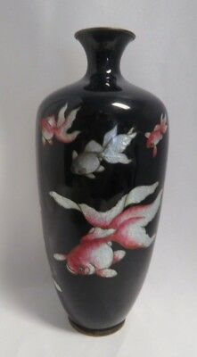 Antique 19th Century Japanese Cloisonne Vase w/ Shippo Work in form of Koi Fish.
