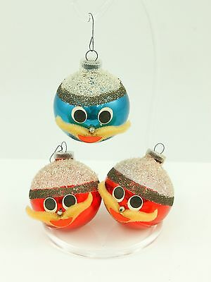 Antique Handcrafted Glass Santa Ball Christmas Ornament Holiday Decoration Lot