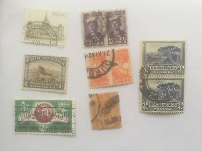 SOUTH AFRICA old used stamps includes 1s wilder beast +some pairs - lot4