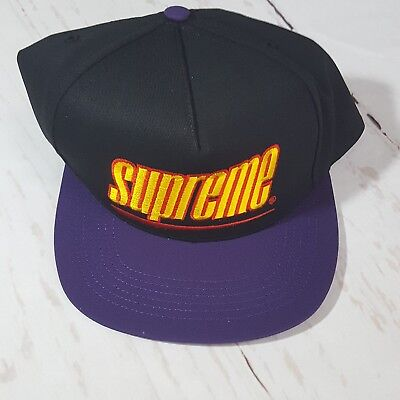 6fd55f17 Supreme New York SS18 Underline 5-Panel Hat Cap Black and Purple, New