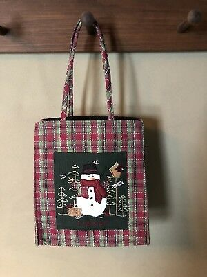 Small Red Green Plaid Christmas Holiday Snowman Longaberger Collectible Tote