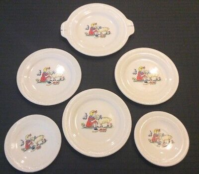 Vintage Victory By Salem China Childrens Plates Mary Had A Little Lamb Set Of 6