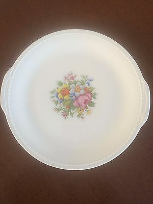 """Taylor Smith Taylor Vintage Large White Plate Charger ~13"""" Pixelated Flowers"""