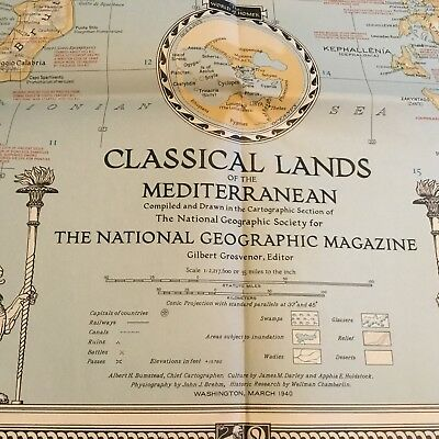 National Geographic Magazine Map Classical Lands Of The Mediterranean March 1940