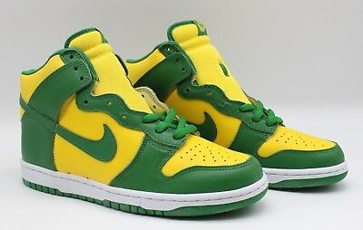 the latest 59a9a 27a63 Nike Dunk High LE Brazil from 2003 World Cup Yellow Zest Green 304717-