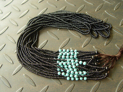 5PCS Natural Chinese Black JADE Circle beads string cord rope for pendant W140