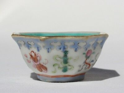 Late 19th Century Antique Chinese Famille Rose Porcelain Small Enameled Bowl