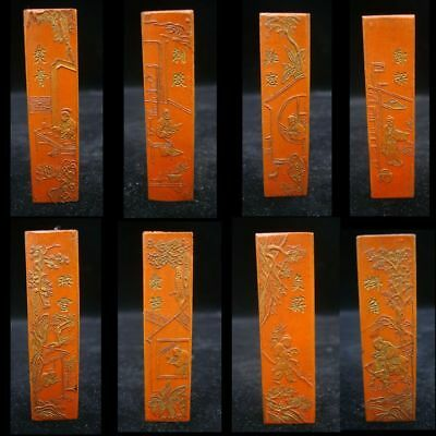 A Set of 8pcs Old Chinese Hand Carving Landscapes Figures Cinnabar Ink Sticks