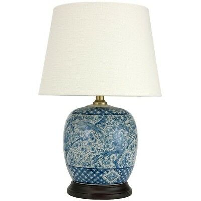 Table Lamp Blue Oriental Porcelain Coffee Round White Fabric Shade Birds New