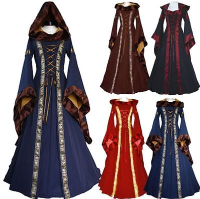 Ladies Gothic Witch Medieval Costume Wench Victorian Renaissance Dress Cosplay