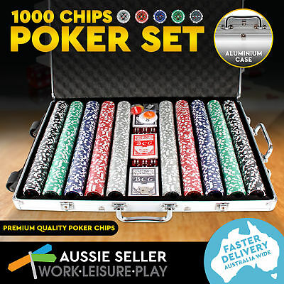 1000 Poker Chip Set with Aluminium Case Playing Cards Dice Casino Size Gamble