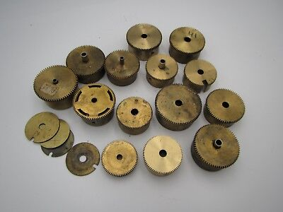 Lot 14 Vintage Brass Clock Winding Barrels Some With Main Springs Parts