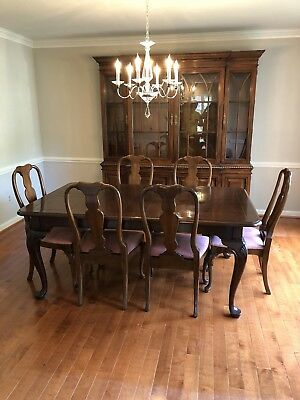 Fancher Furniture Co Dining Room Set Solid Mahogany Table 8 Chairs